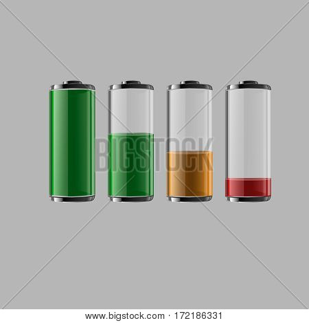 Battery Charge Status - Set Of Vector Illustration