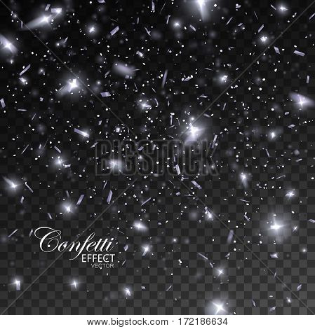 Sparkling Confetti. Vector Festive Illustration of Falling Shiny Confetti Glitters Isolated on Transparent Checkered Background. Holiday Decorative Tinsel Element for Design