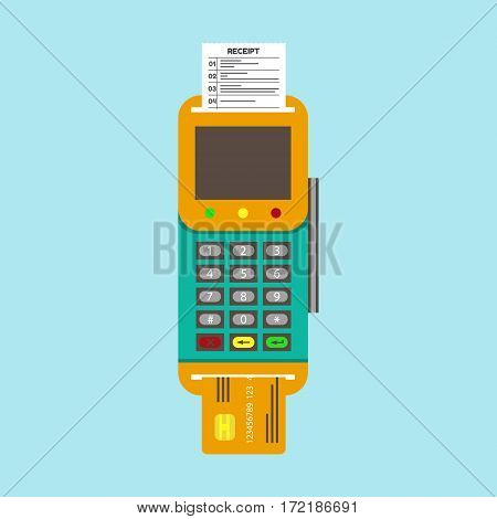 POS terminal with inserted credit card and printed reciept. Modern flat design element