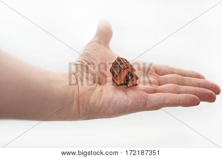 Small decorative house on mans palm.Isolated on white background.