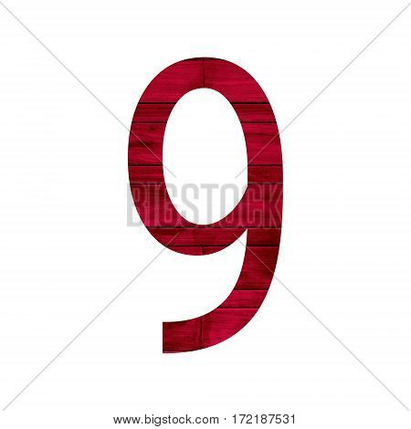 Number 9 (nine) with red wood texture background.