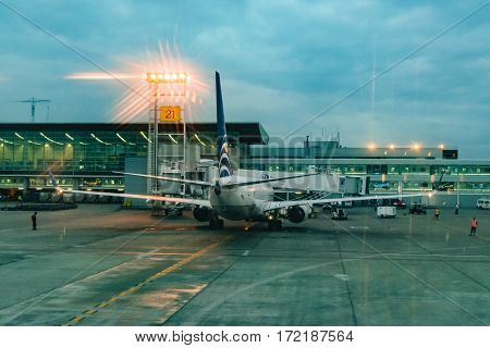 GUAYAS, ECUADOR, FEBRUARY - 2016 - Airplane parked at airport in Guayaquil city Ecuador