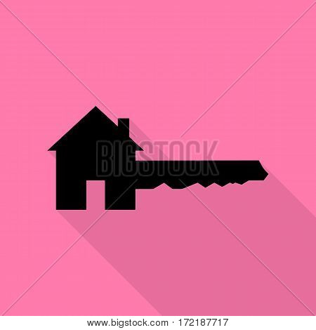 Home Key sign. Black icon with flat style shadow path on pink background.