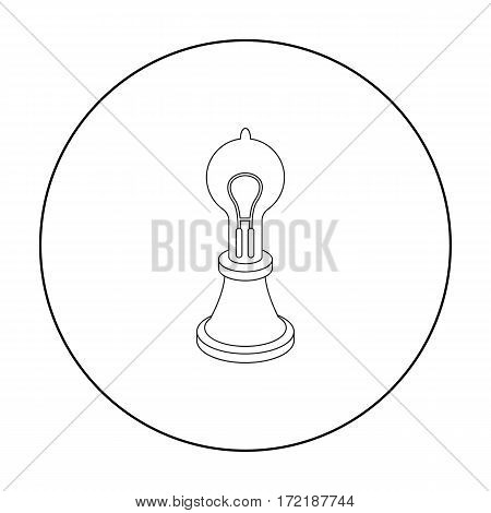 Edison's lamp icon in outline style isolated on white background. Light source symbol vector illustration