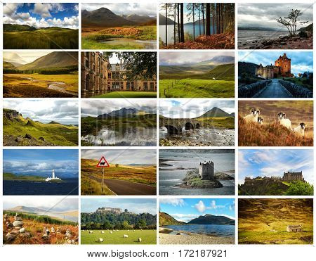 Collage of images from famous location in Scotland, UK