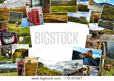 Collage of images from famous location in Scotland, UK with copy space in the middle
