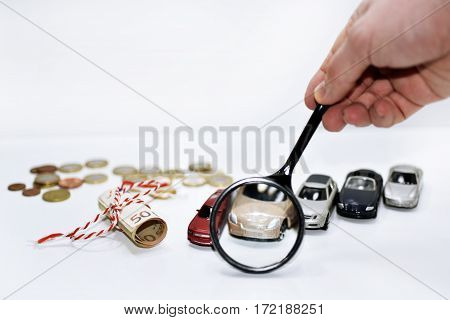 Abstract composition of car prices in auto-market. Isolated on white background.