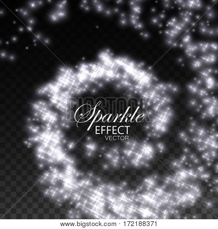 Sparkling swirl of shiny star particles. Spiral stream of sparkling fire glitters. Decoration holiday element for design. Festive ornament