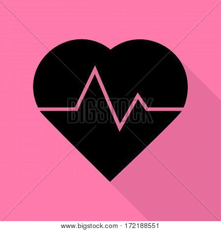Heartbeat sign illustration. Black icon with flat style shadow path on pink background.