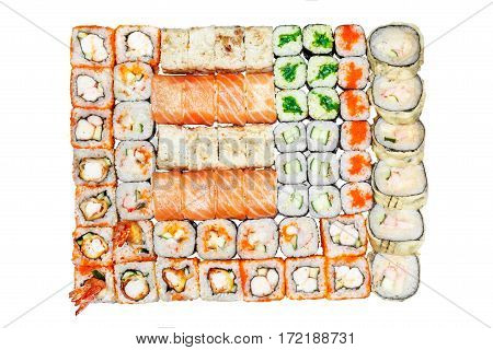 Set of rolls, salmon, hot roll tempura, tobiko roll, roll with seaweed on the white background