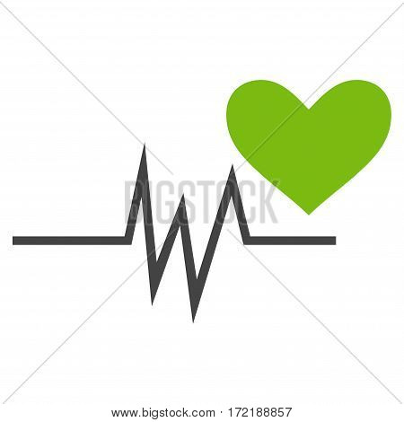 Heart Pulse Signal flat icon. Vector bicolor light green and gray symbol. Pictograph is isolated on a white background. Trendy flat style illustration for web site design logo ads apps