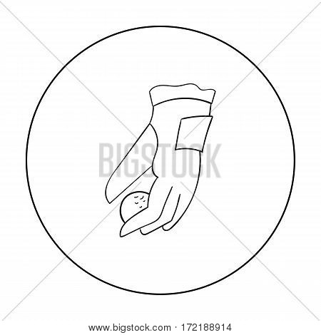 Placing of a golf ball icon in outline style isolated on white background. Golf club symbol vector illustration.
