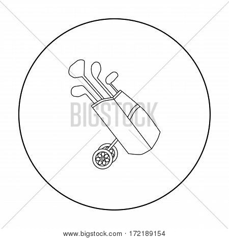 Golf bag on wheels with clubs icon in outline style isolated on white background. Golf club symbol vector illustration.