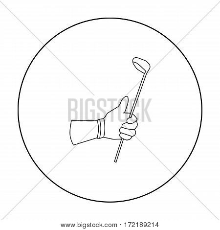 Holding of a golf club icon in outline style isolated on white background. Golf club symbol vector illustration.