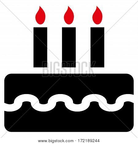Birthday Cake flat icon. Vector bicolor intensive red and black symbol. Pictograph is isolated on a white background. Trendy flat style illustration for web site design logo ads apps