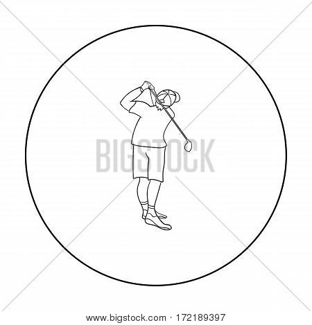 Golfer after kick icon in outline style isolated on white background. Golf club symbol vector illustration.