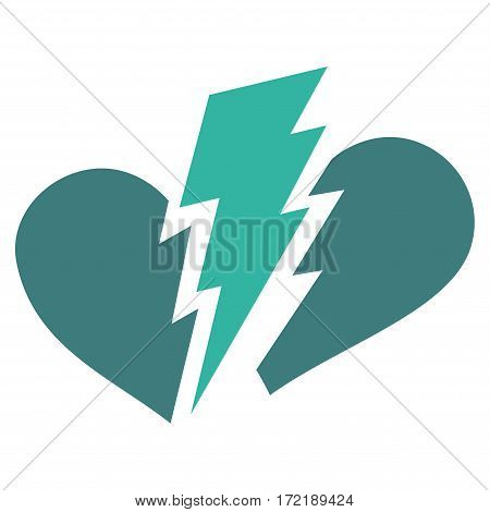 Broken Heart flat icon. Vector bicolor cobalt and cyan symbol. Pictogram is isolated on a white background. Trendy flat style illustration for web site design logo ads apps user interface.