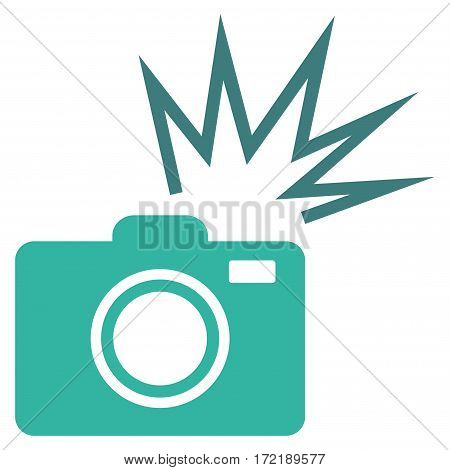 Camera Flash flat icon. Vector bicolor cobalt and cyan symbol. Pictograph is isolated on a white background. Trendy flat style illustration for web site design logo ads apps user interface.