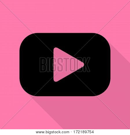 Play button sign. Black icon with flat style shadow path on pink background.