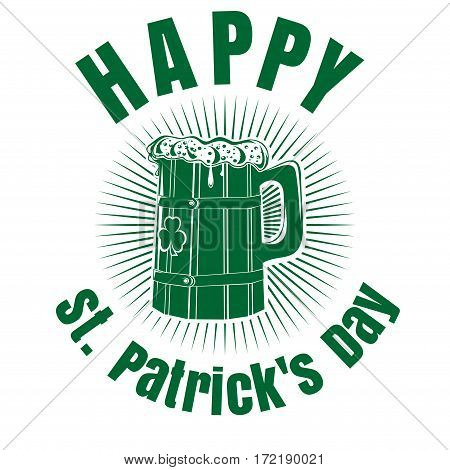 Wooden mug with beer. Beer Mug with the image of clover. Wooden beer mug logo. Happy St. Patrick's Day. Beer label.