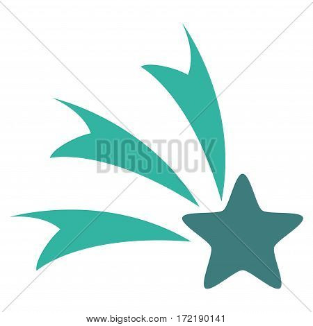 Falling Star flat icon. Vector bicolor cobalt and cyan symbol. Pictograph is isolated on a white background. Trendy flat style illustration for web site design logo ads apps user interface.