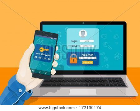 Flat man sitting at desktop and getting access to the website. 2-step authentication SMS code password concept. Secure and reliable access to the network. Hand with phone vector illustration.