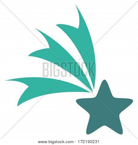 Falling Star flat icon. Vector bicolor cobalt and cyan symbol. Pictogram is isolated on a white background. Trendy flat style illustration for web site design logo ads apps user interface.
