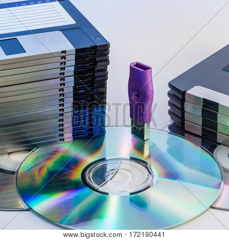 Progression of computer data storage media from floppy to USB flash stick through the DVD rom