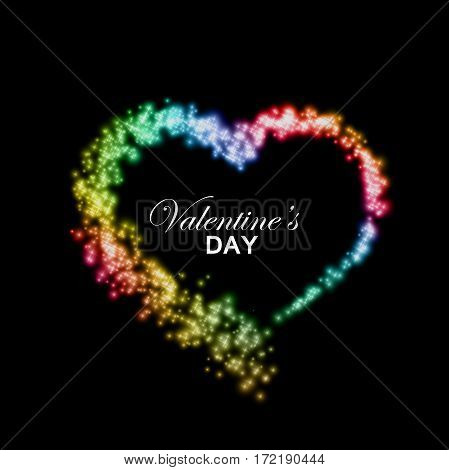 Happy Valentines Day. Rainbow stream of sparkling particles. Holiday vector illustration of heart path isolated on checkered transparent background. Gay Valentines day decoration element for design