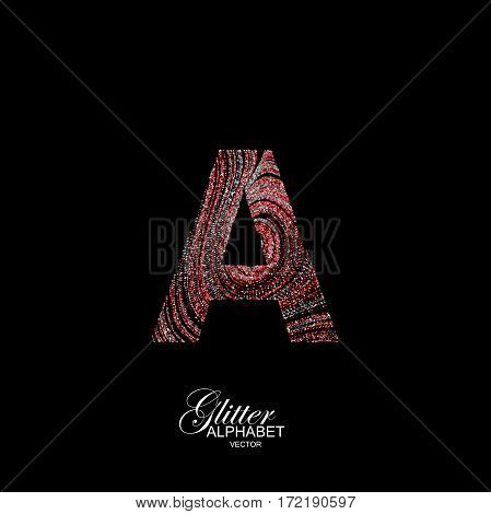 Letter A of red and silver glitters. Typographic vector element for design. Part of curly textured alphabet with shiny paillettes. Letter A with diffusion glitter swirly pattern. Vector illustration