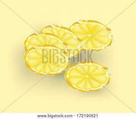 Fresh lemon slices on pale yellow background