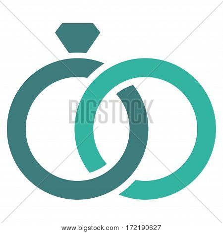 Gem Rings flat icon. Vector bicolor cobalt and cyan symbol. Pictogram is isolated on a white background. Trendy flat style illustration for web site design logo ads apps user interface.