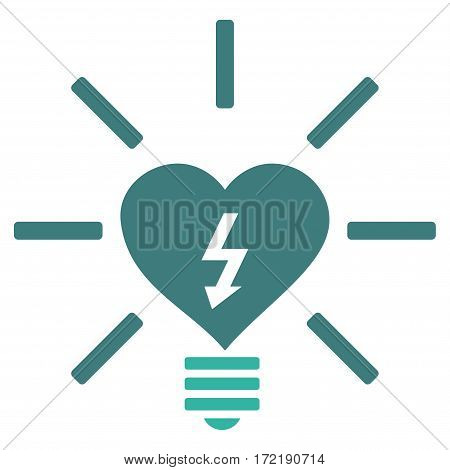Heart Electric Bulb flat icon. Vector bicolor cobalt and cyan symbol. Pictogram is isolated on a white background. Trendy flat style illustration for web site design logo ads apps user interface.