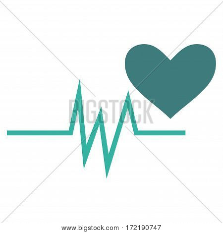 Heart Pulse Signal flat icon. Vector bicolor cobalt and cyan symbol. Pictograph is isolated on a white background. Trendy flat style illustration for web site design logo ads apps user interface.