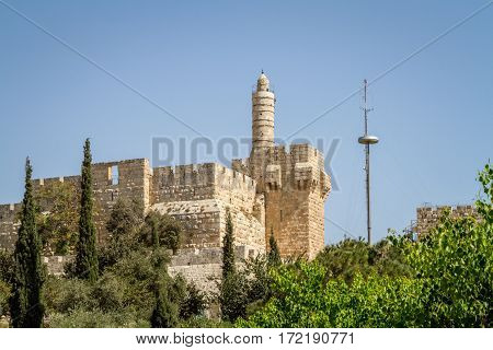 View of the Tower of David the ancient Jerusalem Citadel Old City of Jerusalem Israel