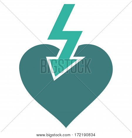 Heart Shock Strike flat icon. Vector bicolor cobalt and cyan symbol. Pictograph is isolated on a white background. Trendy flat style illustration for web site design logo ads apps user interface.