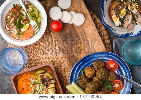 Vegetable salads falafel on the table horizontal