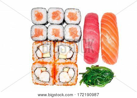 Set of rolls, roll California, roll  salmon, sushi salmon, sushi tuna, seaweed on a white background