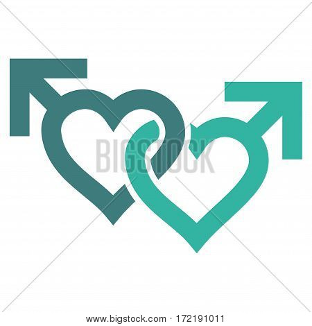 Linked Gay Hearts flat icon. Vector bicolor cobalt and cyan symbol. Pictograph is isolated on a white background. Trendy flat style illustration for web site design logo ads apps user interface.