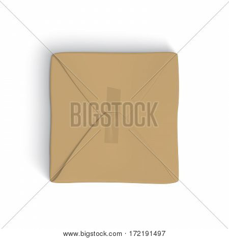 Realistic template of parcel wrapped up with brown paper, with tape