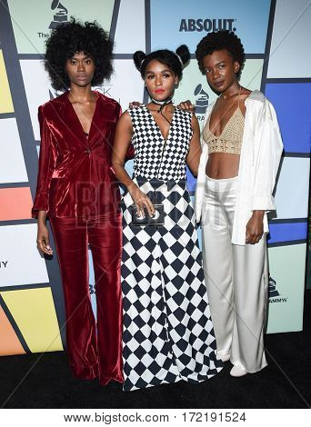 LOS ANGELES - FEB 09:  Janelle Monae and St. Beauty arrives for the ESSENCE 8th Annual Black Women In Music on February 9, 2017 in Hollywood, CA