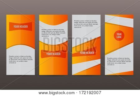 Set Vertical Banners Orange Background01
