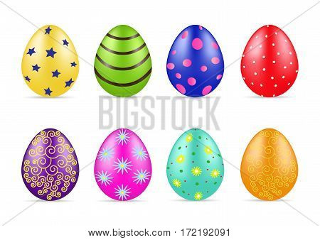 Beautiful different Easter colorfull eggs with pattern. Spring holidays. Vector illustration.