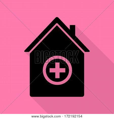Hospital sign illustration. Black icon with flat style shadow path on pink background.