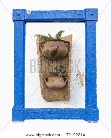 flowerpots on a tile on a white wall with plants for decoration and a blue frame