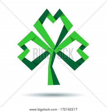 Paper shamrock, clover, trefoil icon. St. Patrick's Day. Green vector clover logo. Vector trefoil icon