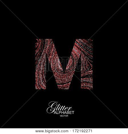 Letter M of red and silver glitters. Typographic vector element for design. Part of curly textured alphabet with shiny paillettes. Letter M with diffusion glitter swirly pattern. Vector illustration