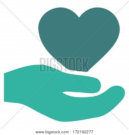 Love Heart Offer Hand flat icon. Vector bicolor cobalt and cyan symbol. Pictograph is isolated on a white background. Trendy flat style illustration for web site design logo ads apps