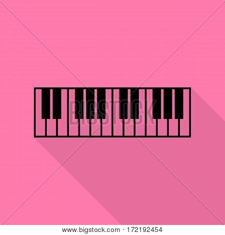 Piano Keyboard sign. Black icon with flat style shadow path on pink background.