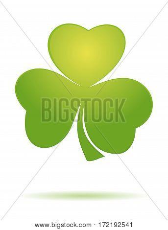 Shamrock clover. Vector green clover icon. Trefoil. Trifoliate clover. Vector clover icon.